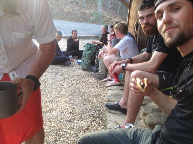 Eating Hotdogs at Fontana Shelter