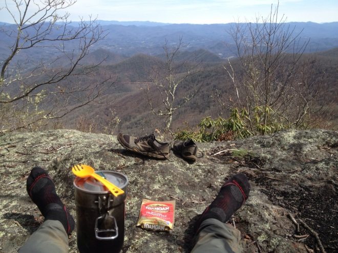 Eating lunch on Rocky Bald