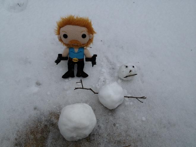 Chuck vs Snowman. Snowman stood no chance!