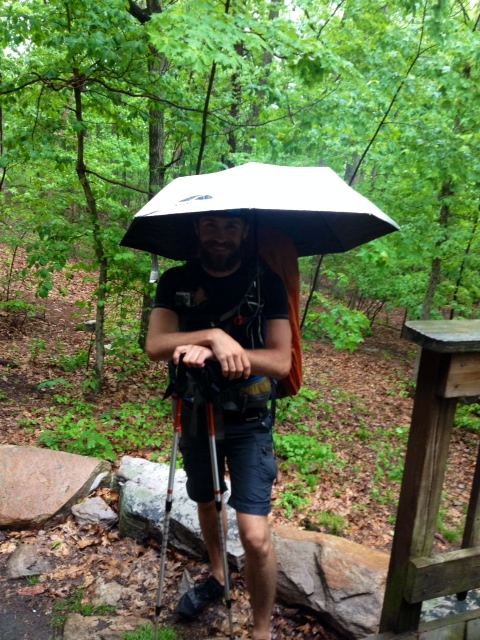 The umbrella - huge hit! Several hikers have now gotten one. Way better than rain coats.